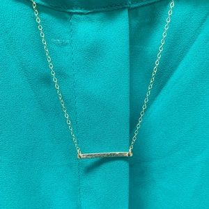 Gold-Plated Hammered-Bar Necklace